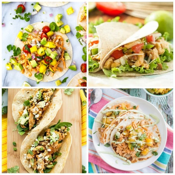Four Fabulous Recipes for Sriracha Chicken Tacos featured on Slow Cooker or Pressure Cooker at SlowCookerFromScratch.com