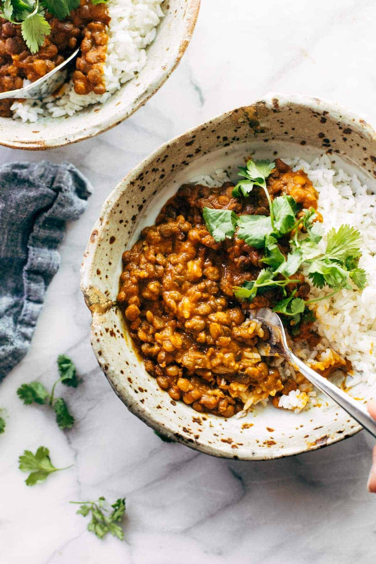 Instant Pot Red Curry Lentils from Pinch of Yum