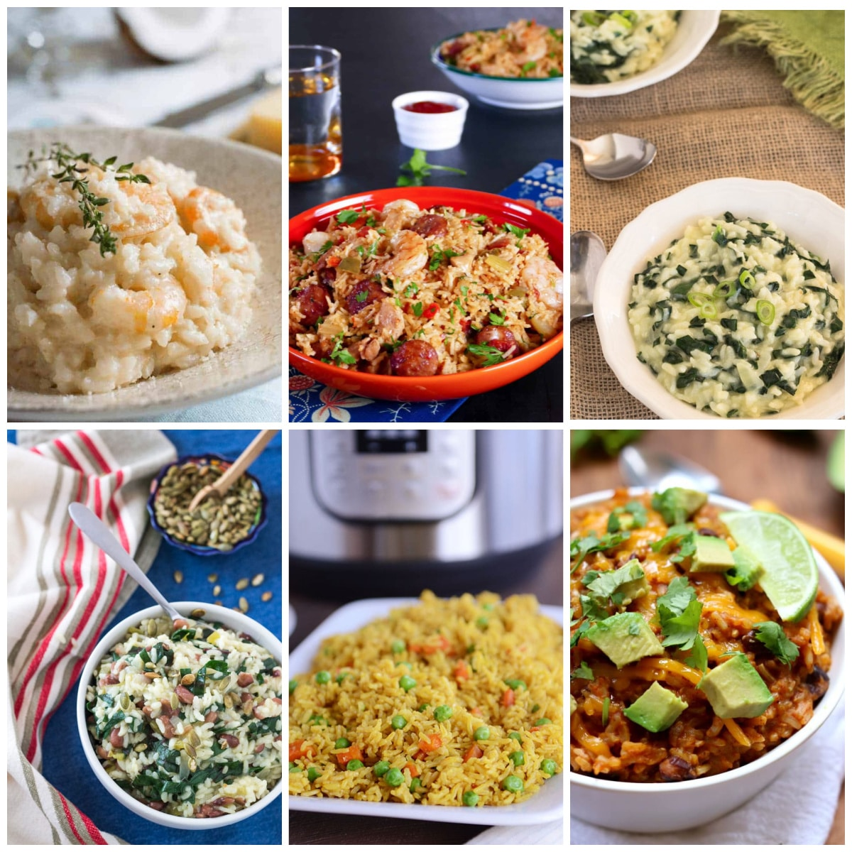 Instant Pot Rice or Risotto Recipes collage of featured recipe photos
