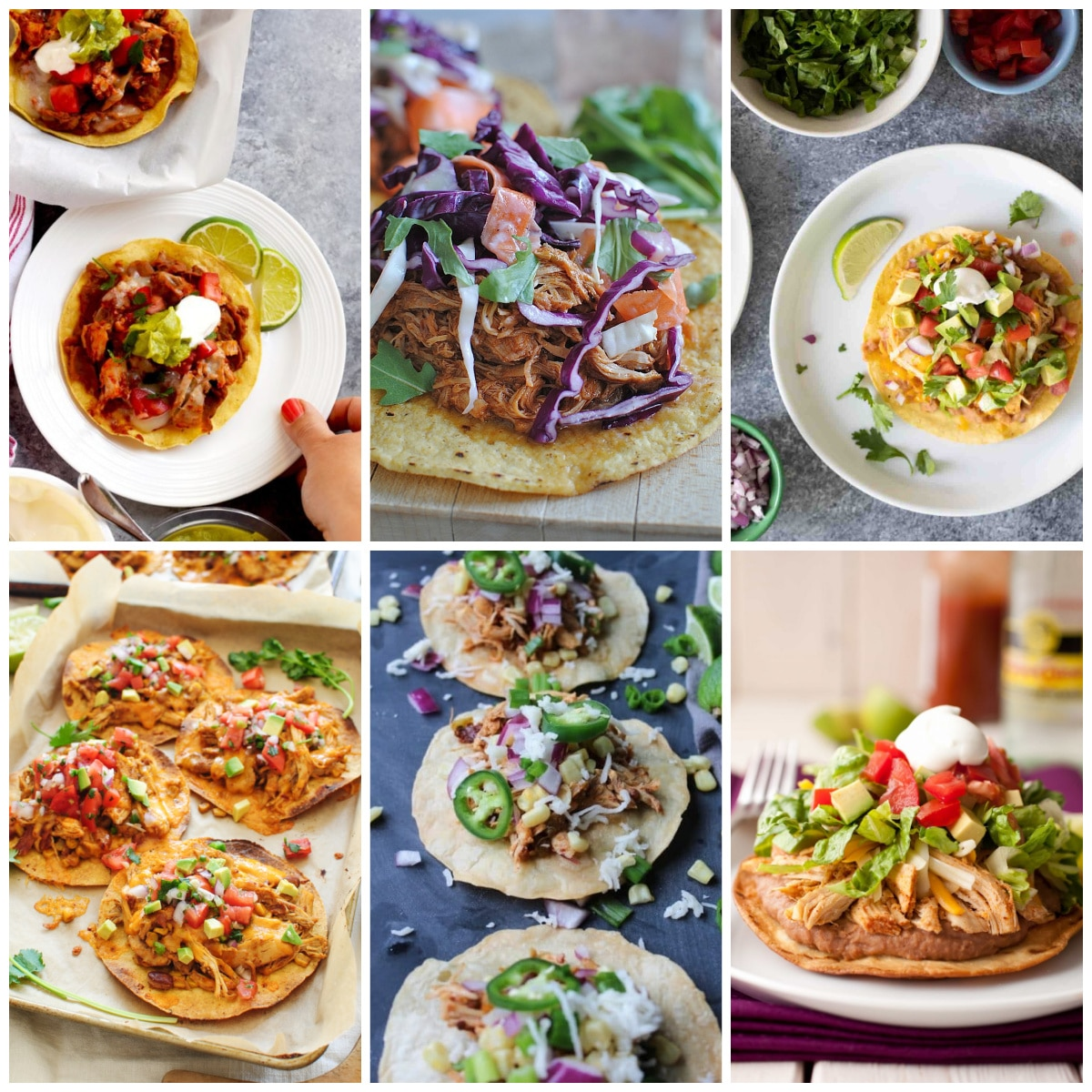 Slow Cooker or Instant Pot Chicken Tostadas Recipes collage of featured recipes