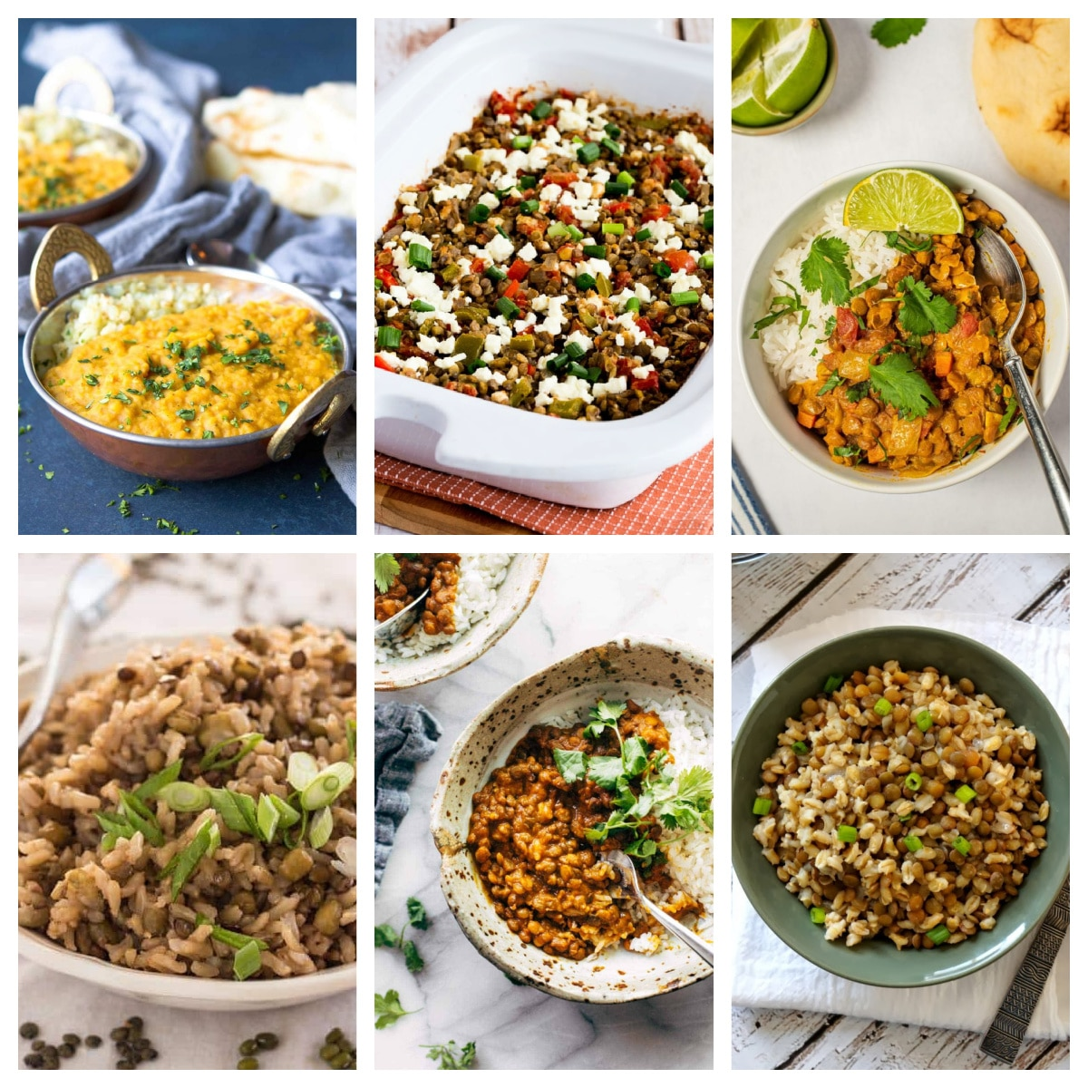 Slow Cooker or Instant Pot Recipes for Lentils top photo collage
