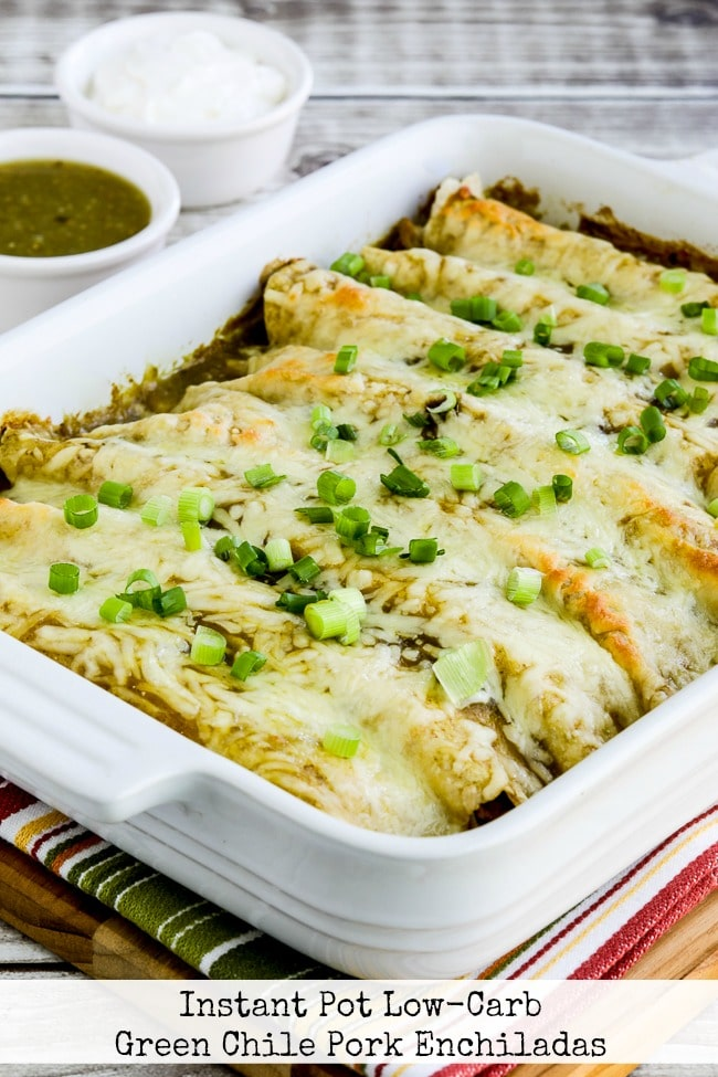 Instant Pot Green Chile Pork Enchiladas from Kalyn's Kitchen