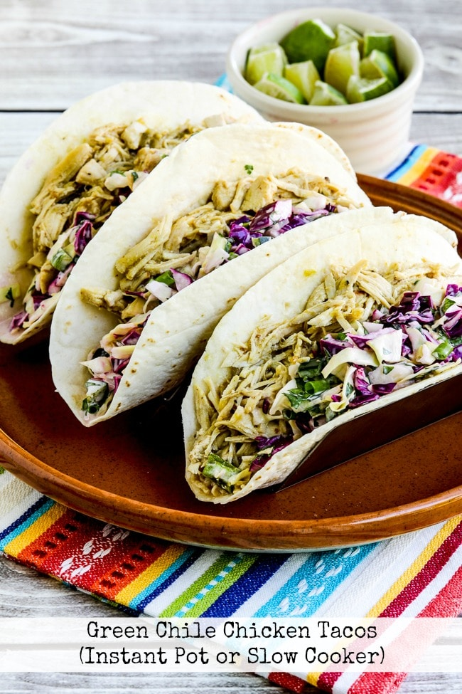 Green Chile Chicken Tacos from Kalyn's Kitchen