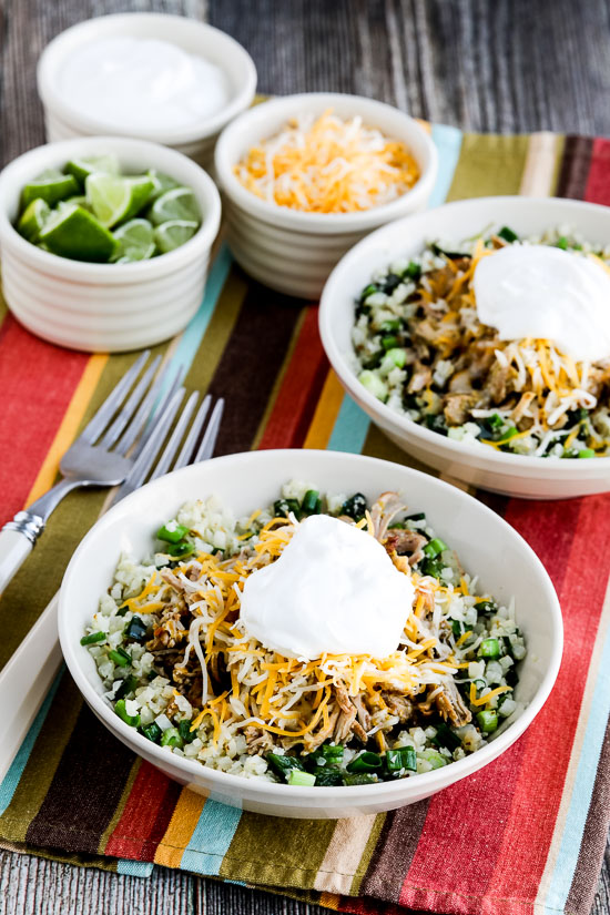 Instant Pot Low-Carb Green Chile Pork Taco Bowl from Kalyn's Kitchen