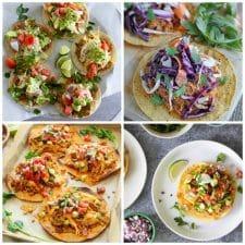 Four Fun Recipes for Chicken Tostadas top photo collage