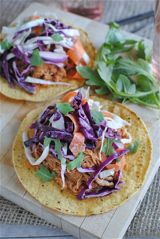 Slow Cooker Barbecue Chicken Tostadas with Cole Slaw from Bev Cooks