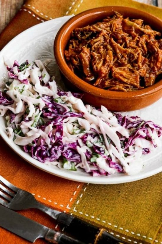 Slow Cooker (or Instant Pot) Pulled Pork with Low-Sugar Barbecue Sauce from Kalyn's Kitchen