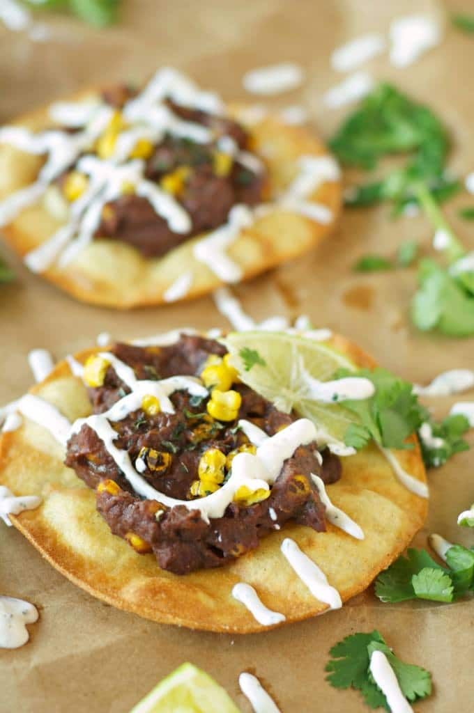 Slow Cooker Black Bean Corn and Basil Tostadas from Slow Cooker Gourmet