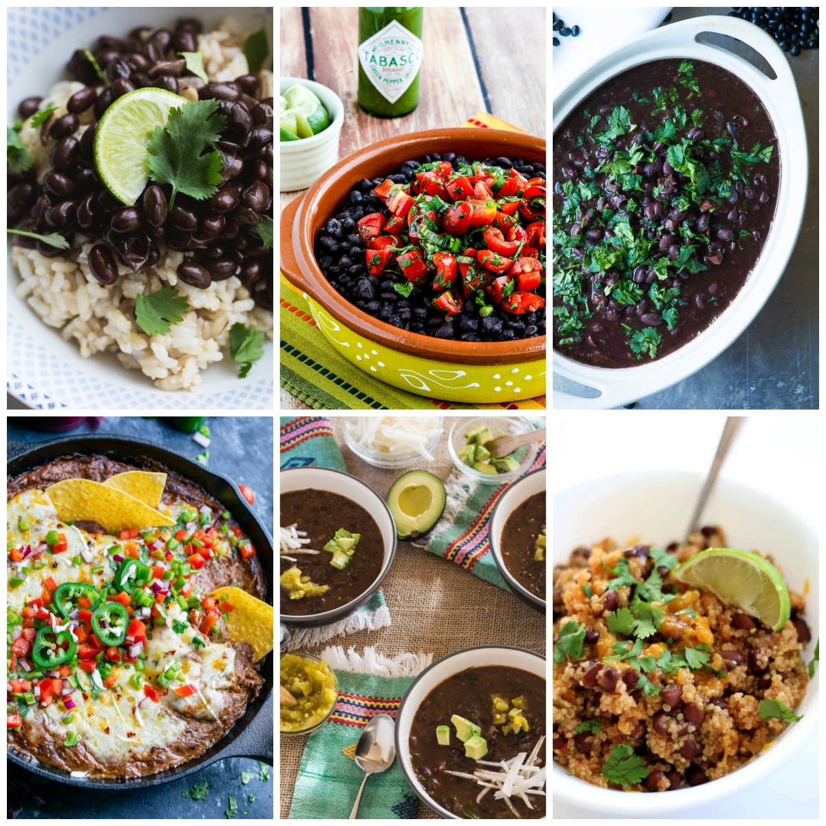 Instant Pot Black Beans Recipes collage of featured recipes