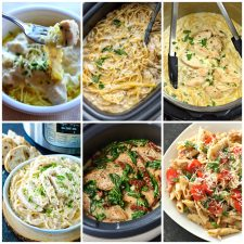 Slow Cooker or Instant Pot Chicken Alfredo collage photo of featured recipes