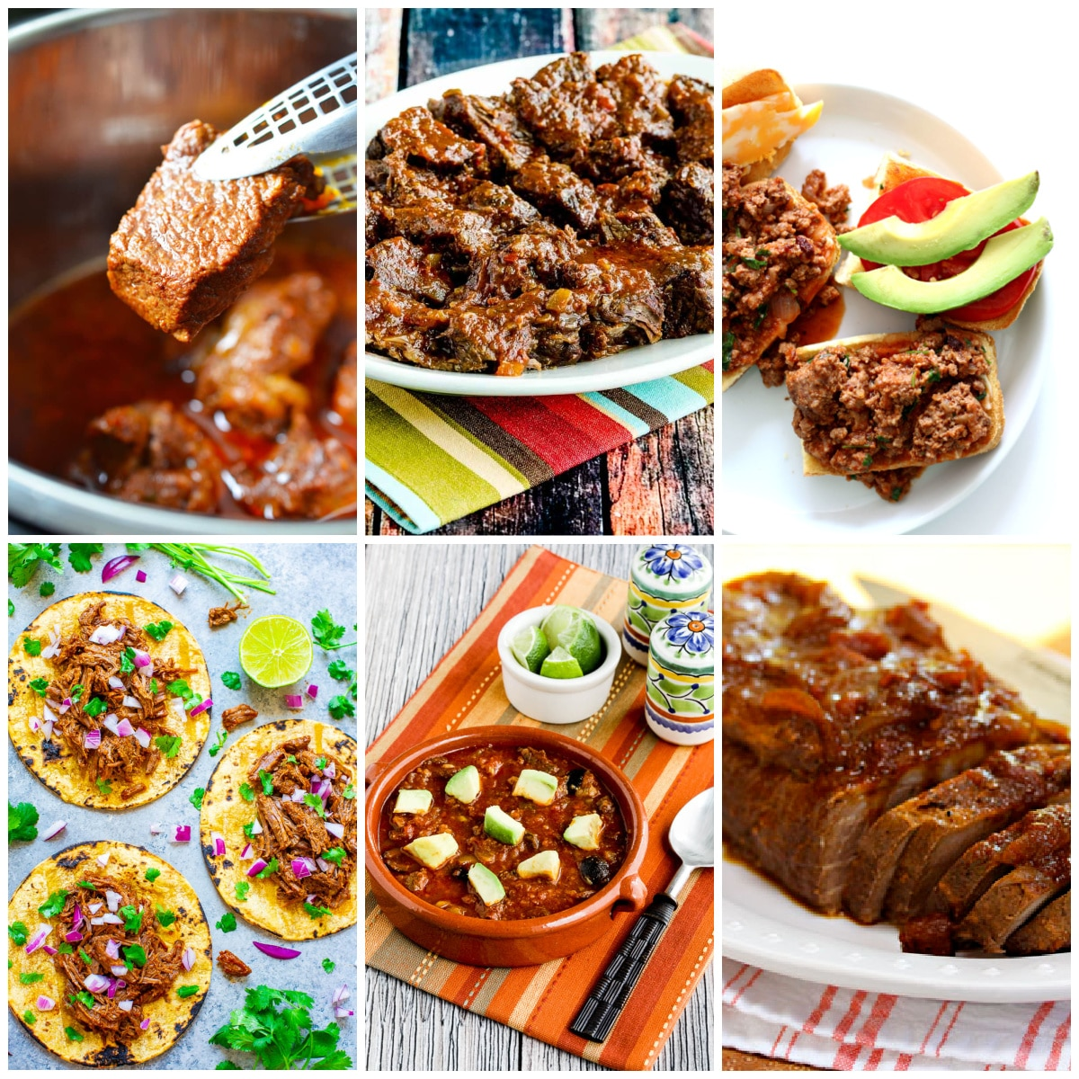 Slow Cooker or Instant Pot Recipes for Southwestern Beef photo collage