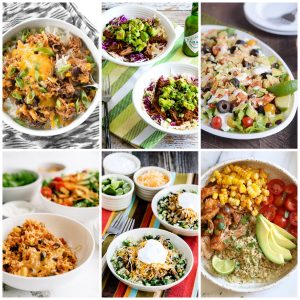 Slow Cooker or Instant Pot Taco Bowls collage photo of featured recipes