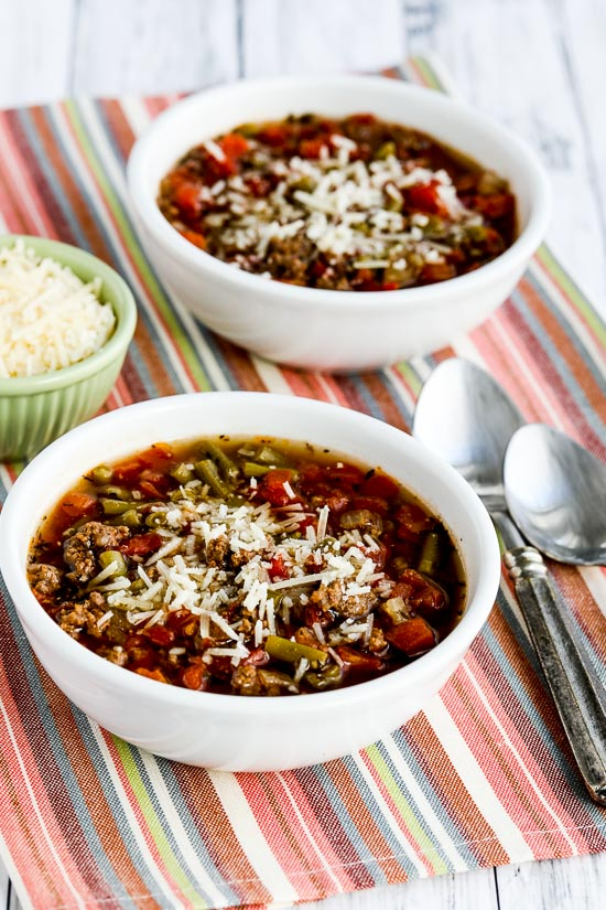 Instant Pot Soup with Ground Beef, Green Beans, and Tomatoes from Kalyn's Kitchen