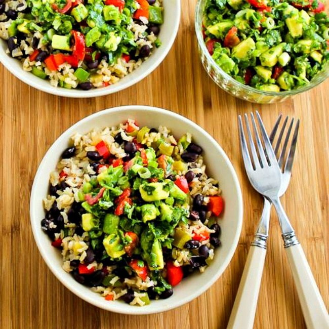 Slow Cooker Brown Rice Mexican Bowls from Kalyn's Kitchen
