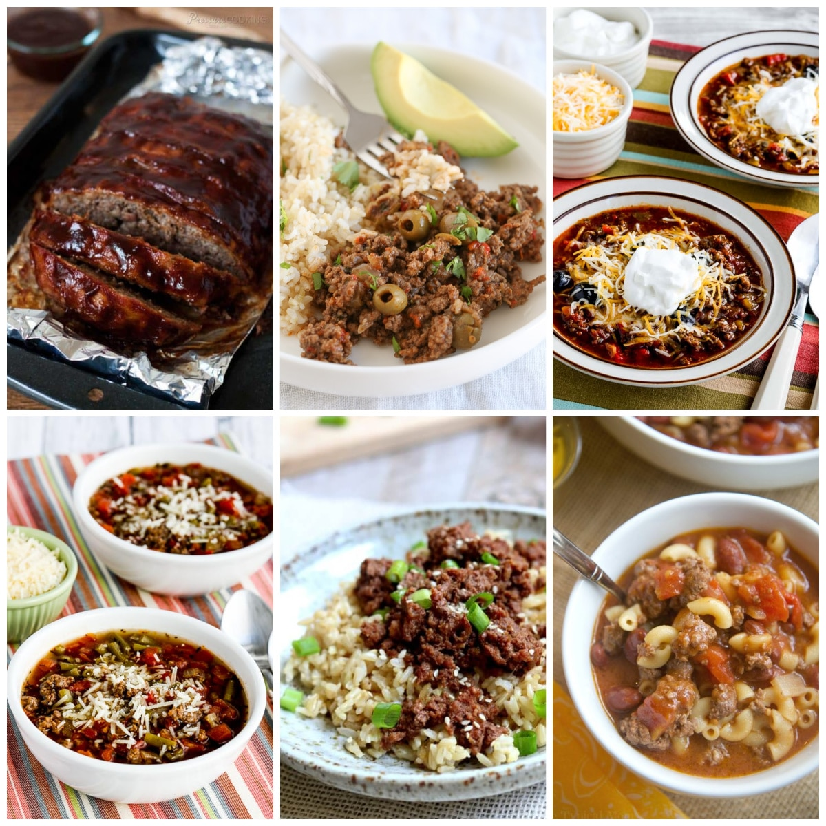 Instant Pot Dinners with Ground Beef collage of featured recipes