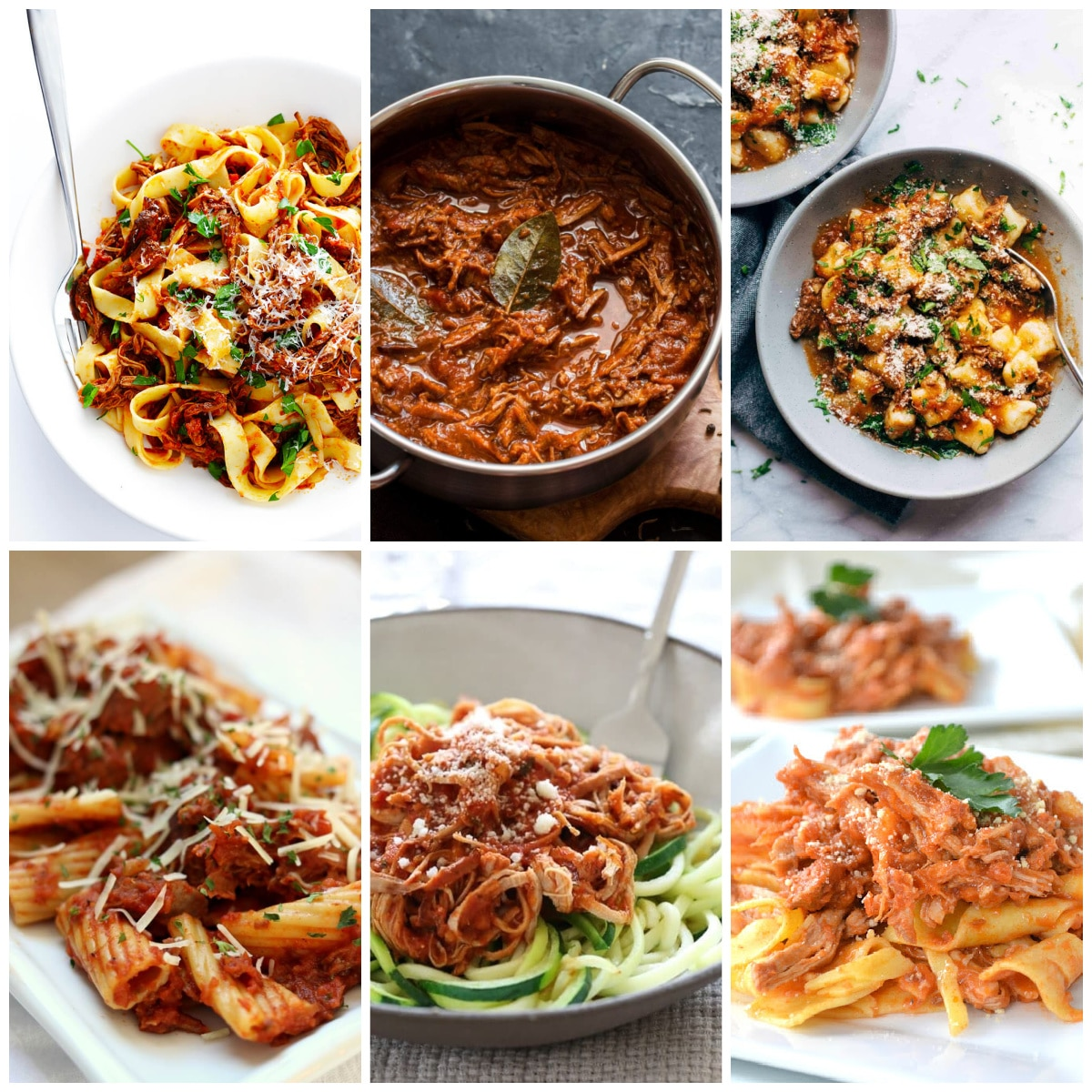 Slow Cooker or Instant Pot Ragu Pasta Sauce Recipes photo collage of featured recipes
