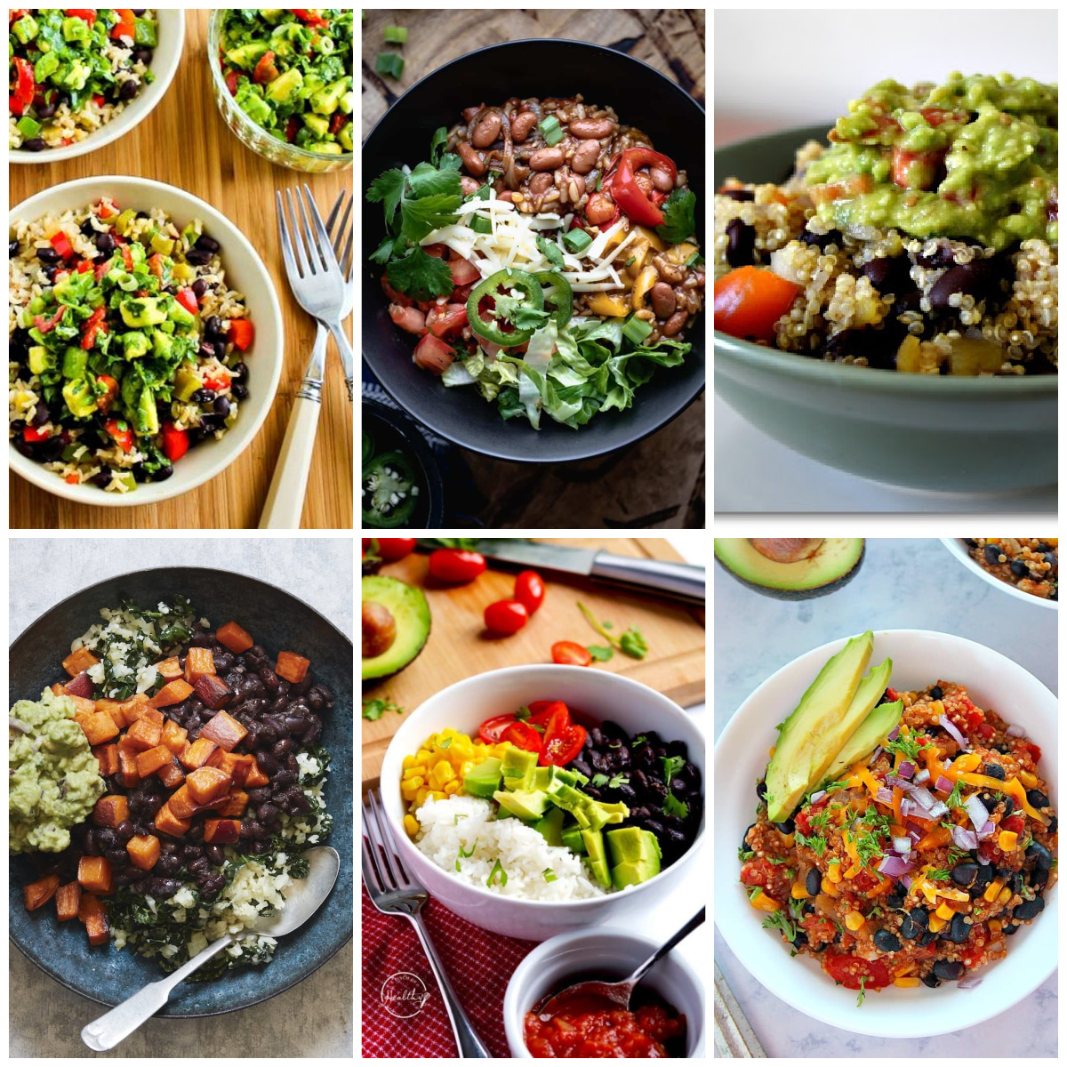 Slow Cooker or Instant Pot Vegetarian Mexican Bowls collage of featured recipes