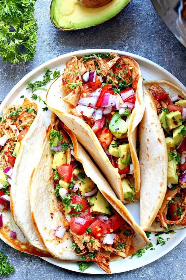 Instant Pot Chicken Tacos Recipe from Crunchy Creamy Sweet