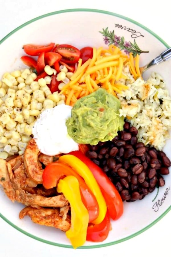 Instant Pot Chicken Fajita Bowls from 365 Days of Slow + Pressure Cooking