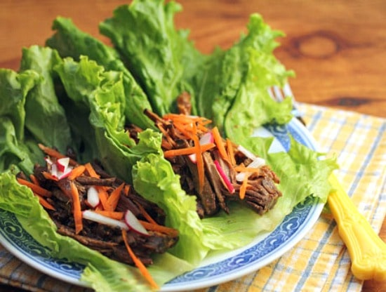 Slow Cooker Hoisin Shredded Beef Lettuce Wraps from The Perfect Pantry