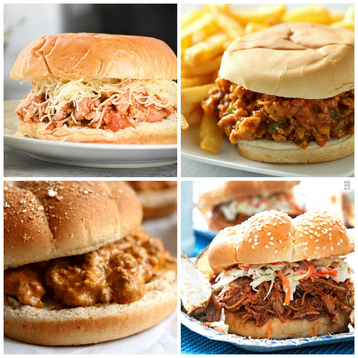Slow Cooker Sloppy Joes top photo collage