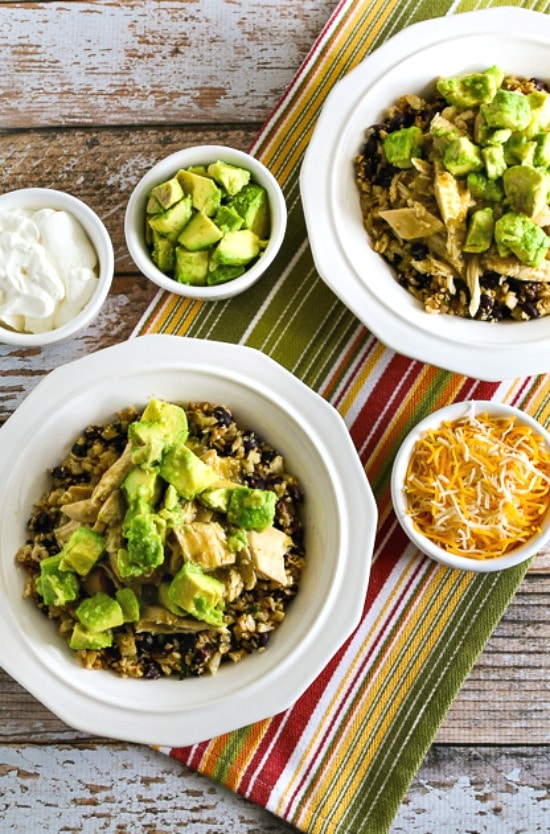 Slow Cooker Green Chile Chicken Burrito Bowls from Kalyn's Kitchen