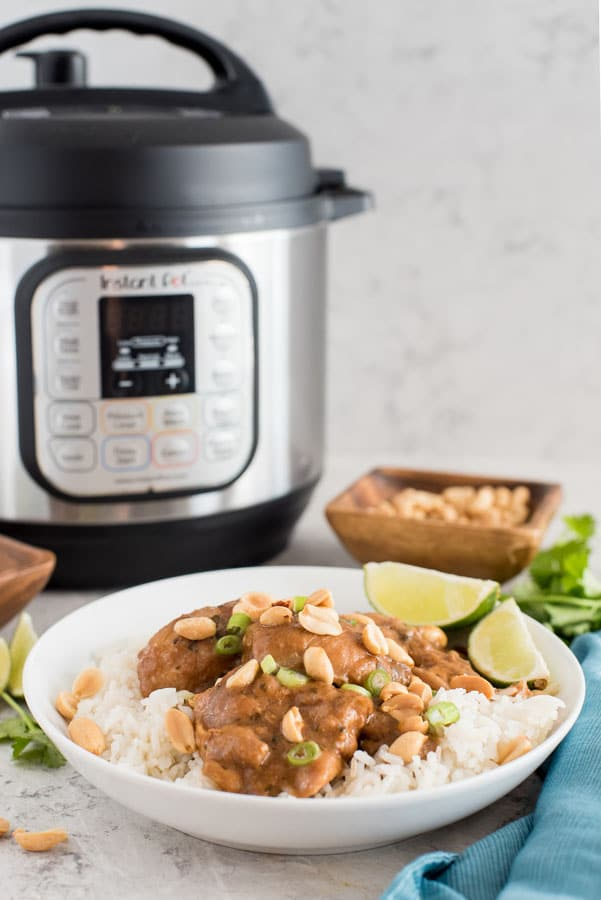 Instant Pot Peanut-Lime Chicken Thighs from Pressure Cooking Today