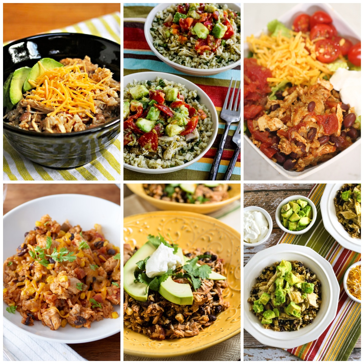 Slow Cooker and Instant Pot Chicken Burrito Bowls collage photo of featured recipes