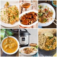 Slow Cooker or Instant Pot Dinners with Peanut Sauce collage of featured recipes