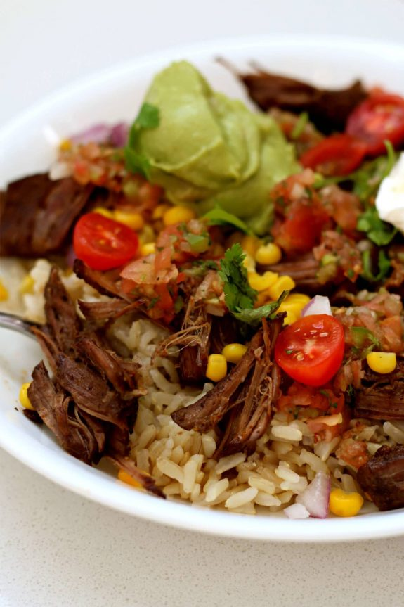 Instant Pot Chipotle Beef Burrito Bowls from 365 Days of Slow + Pressure Cooking