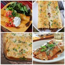 Slow Cooker or Instant Pot Recipes for Beef Enchiladas top photo collage