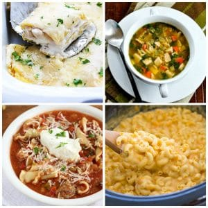Slow Cooker Recipes with Pasta top photo collage