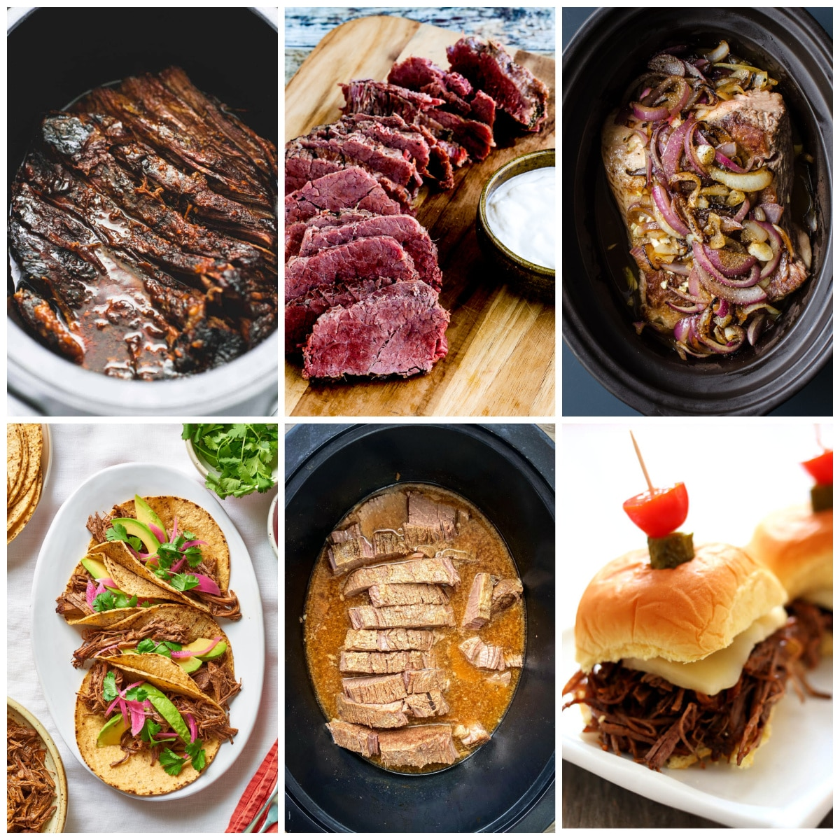 Slow Cooker or Instant Pot Recipes for Beef Brisket collage photo