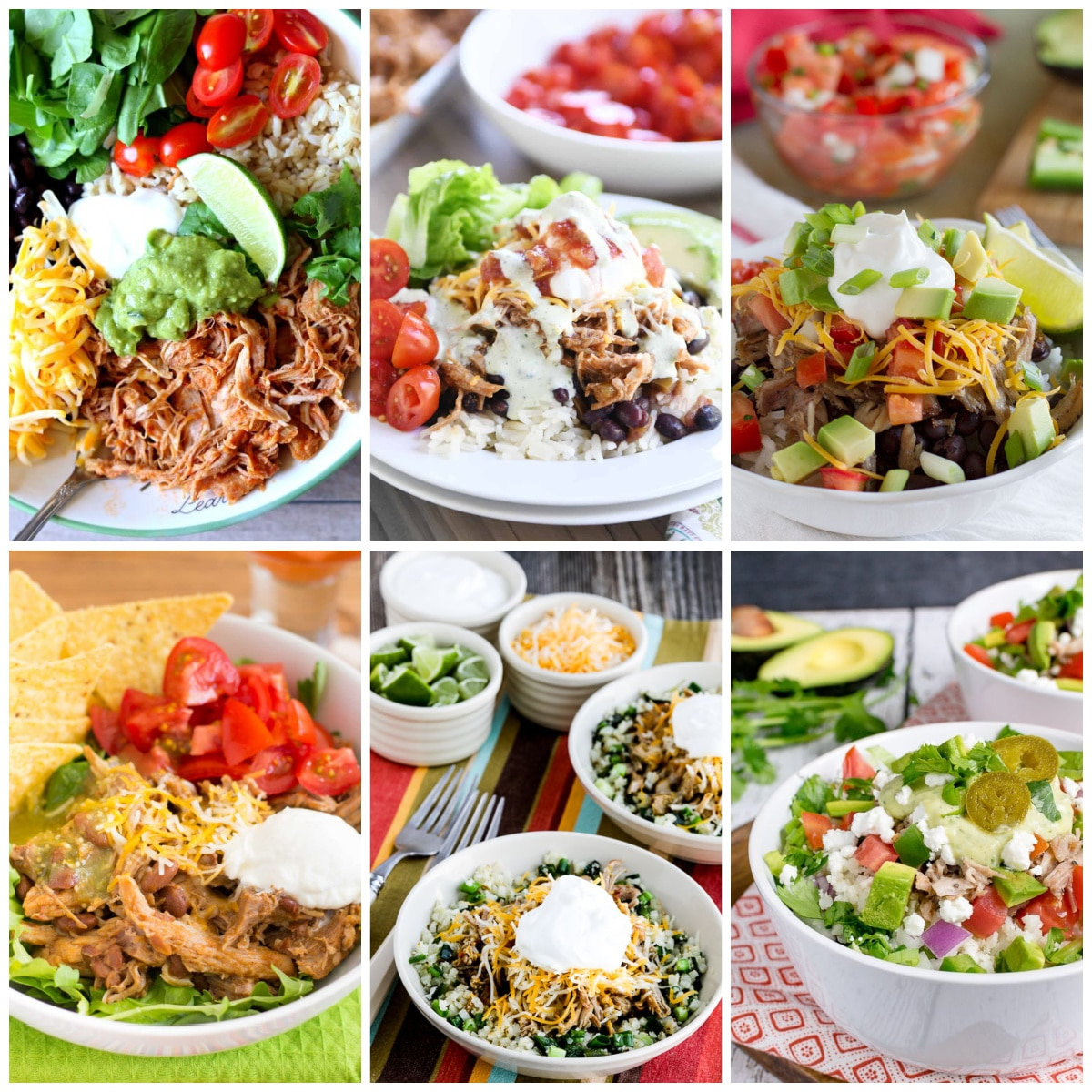 Slow Cooker and Instant Pot Pork Burrito Bowls collage photo