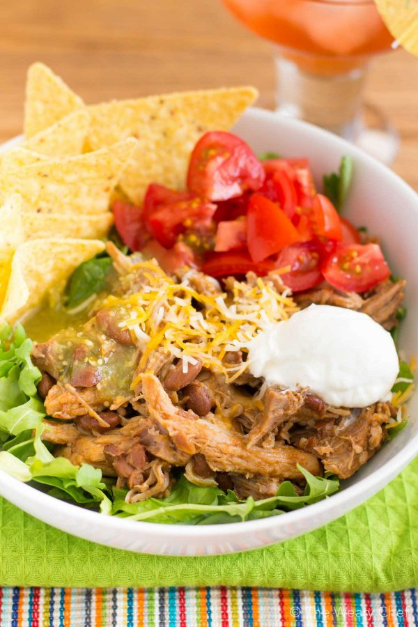 Crockpot Pork Burrito Bowls from The Weary Chef