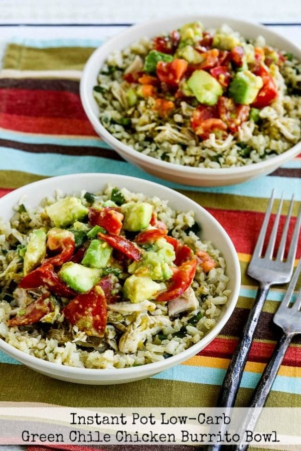 This Instant Pot Low-Carb Green Chile Chicken Burrito Bowl from Kalyn's Kitchen