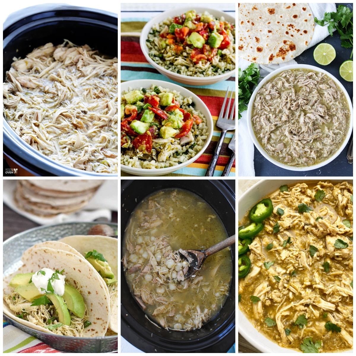 Slow Cooker or Instant Pot Salsa Verde Chicken Recipes collage photo of featured recipes