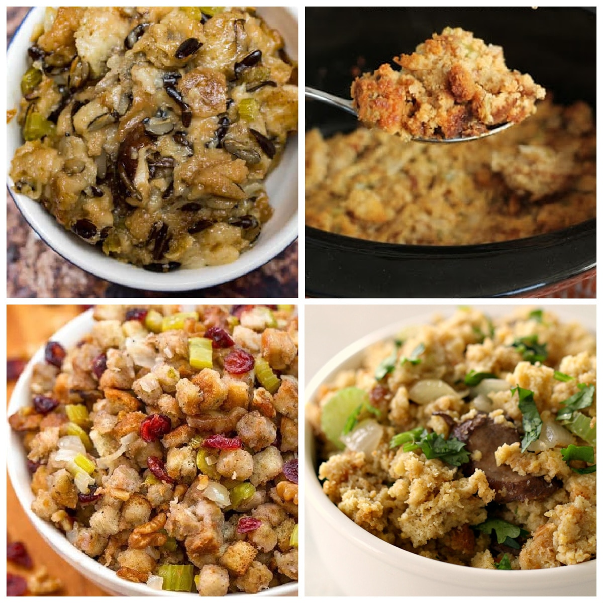 Ten Amazing Slow Cooker and Instant Pot Stuffing Recipes top photo collage