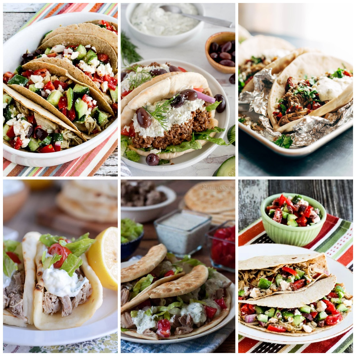 Slow Cooker or Instant Pot Greek Tacos collage of featured recipes