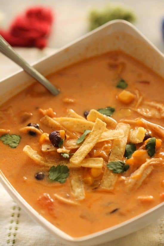 Instant Pot Creamy Enchilada Soup from Six Sisters' Stuff