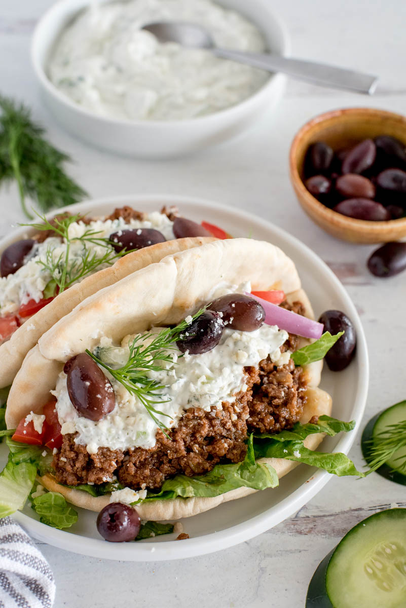 Instant Pot Greek Beef Tacos from Pressure Cooking Today