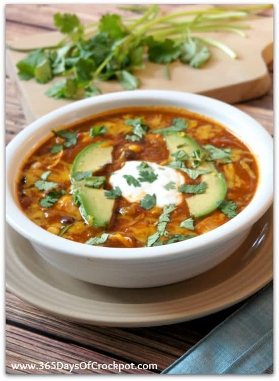Instant Pot or Slow Cooker Enchilada Soup from 365 Days of Slow + Pressure Cooking