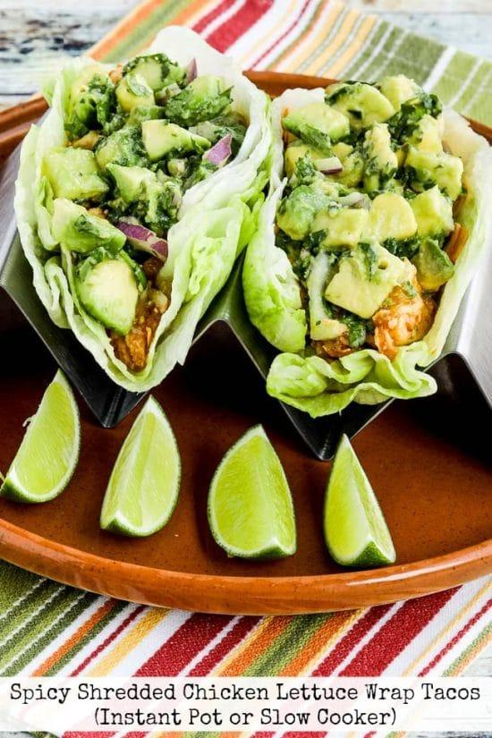Spicy Shredded Chicken Lettuce Wrap Tacos from Kalyn's Kitchen