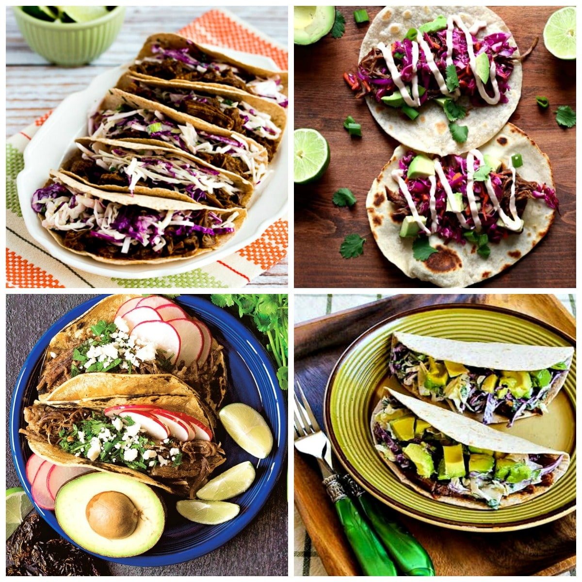 Slow Cooker and Instant Pot Beef Tacos top photo collage