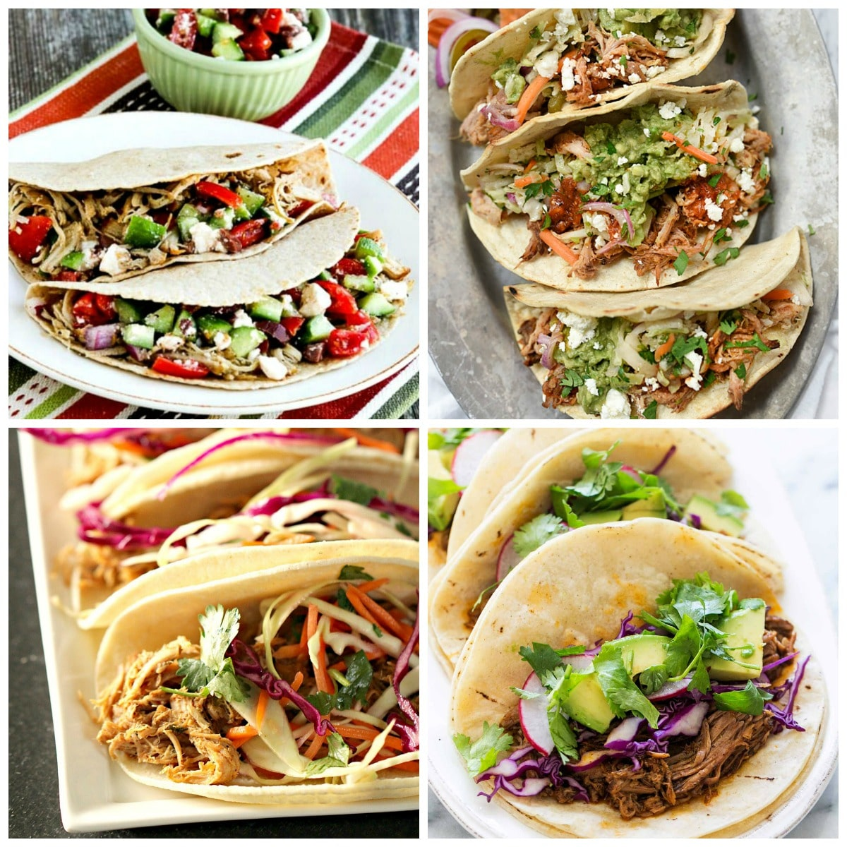 Slow Cooker and Instant Pot Pork Tacos top photo collage