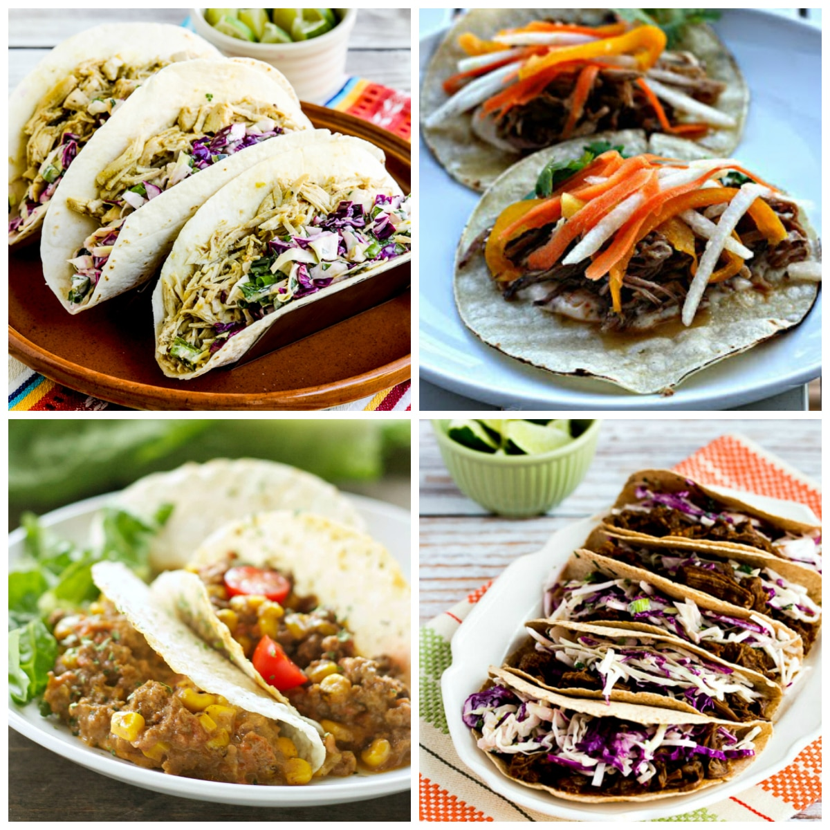 30+ Slow Cooker Tacos Recipes top photo collage