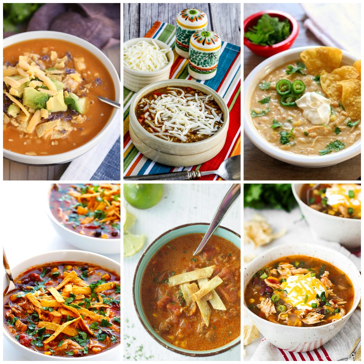 Slow Cooker or Instant Pot Enchilada Soup Recipes collage of featured recipes
