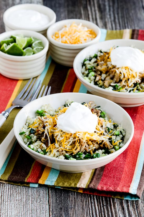 Green Chile Pork Taco Bowl from Kalyn's Kitchen