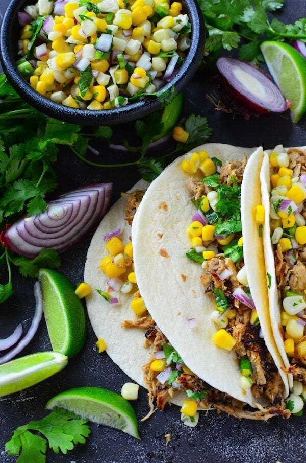 Crispy Pork Carnitas with Corn Salsa from The Novice Chef