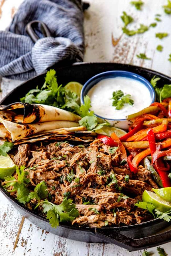 Slow Cooker Honey Lime Salsa Verde Pork from Carlsbad Cravings
